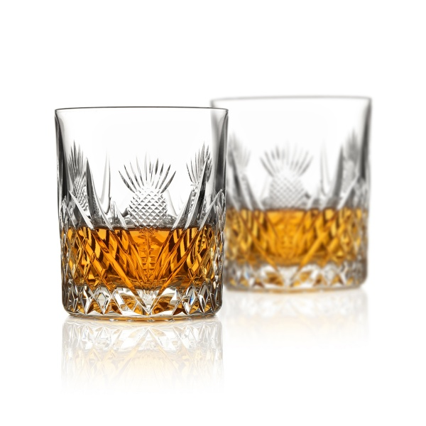 2 x Large Scottish Thistle Whisky Tumbler - Handgefertigtes Kristallglas mit Diamantschliff