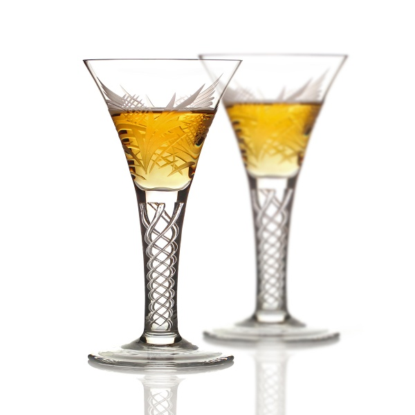 2x Flower Of Scotland - Schottische Distel - Jakobiten Whisky Glas aus Schottland
