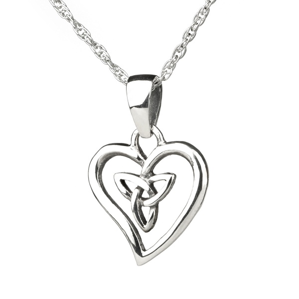 Celtic Trinity Heart - Keltisches Herz aus Sterling Silber - Made in Edinburgh