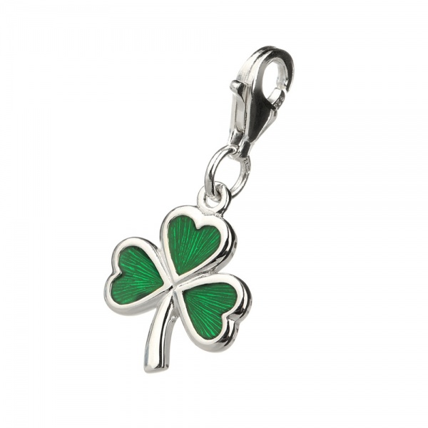 The Irish Shamrock - Charm aus Sterling Silber - handgefertigt in Irland
