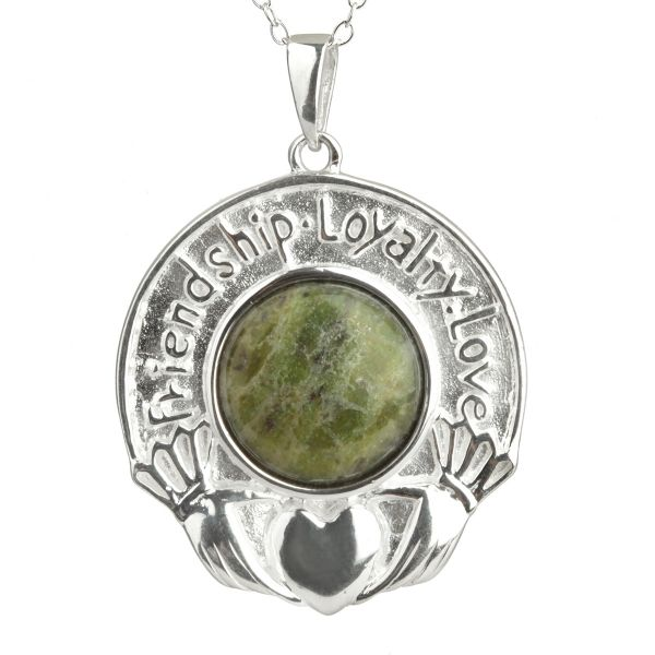 Love Loyalty Friendship - irische Claddagh Kette aus Silber & Connemara Marmor