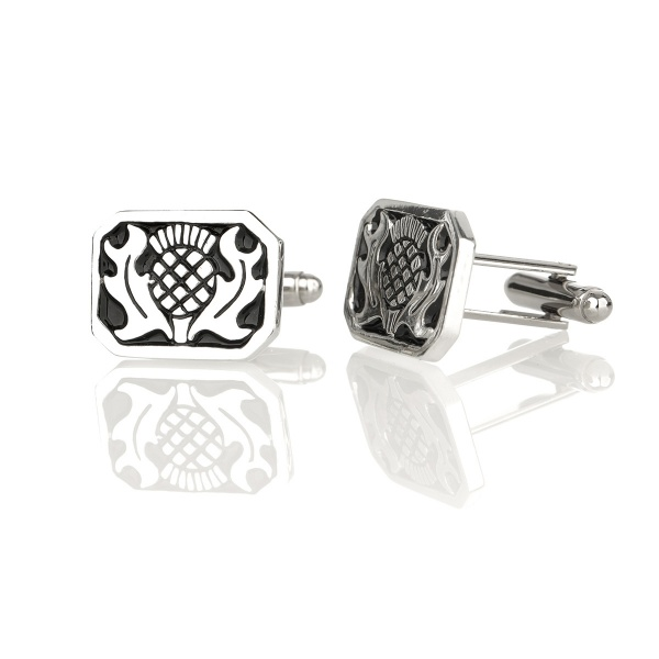 Scottish Thistle Square Cufflinks - Schottische Distel Manschettenknöpfe