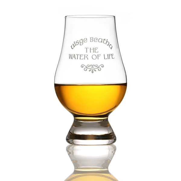 Glencairn Whisky Tasting Glas mit Gravur 'Uisge Beatha - The Water Of Life'