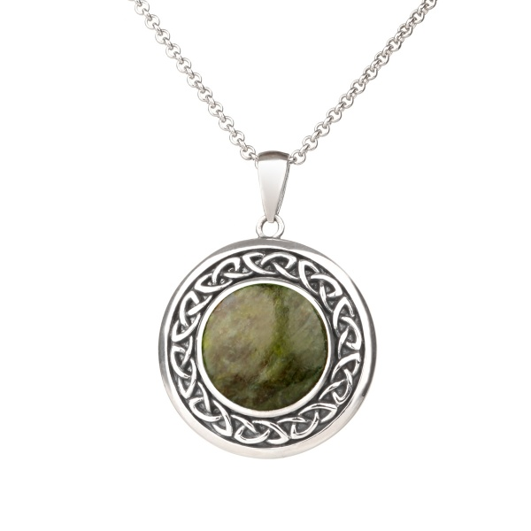 Silver Celtic Shield - Irische Kette aus Connemara Marmor & Sterling Silber