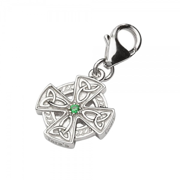 Crystal Celtic Cross Charm - Keltisches Kreuz aus Sterling Silber & Kristall