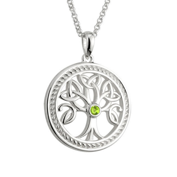 Trinity Tree of Life Kette & Anhänger aus Irland - Sterling Silber & Kristall